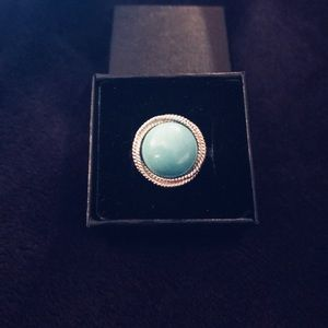 14K White Gold Rope Design & Turquoise Ring Size 6